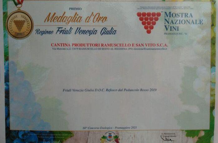 Refosco D.P.R. - Medaglia d'Oro 75° Mostra Nazionale dei Vini di Pramaggiore